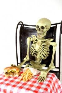 skeleton at table